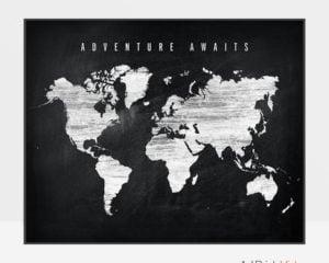World map chalkboard adventure awaits