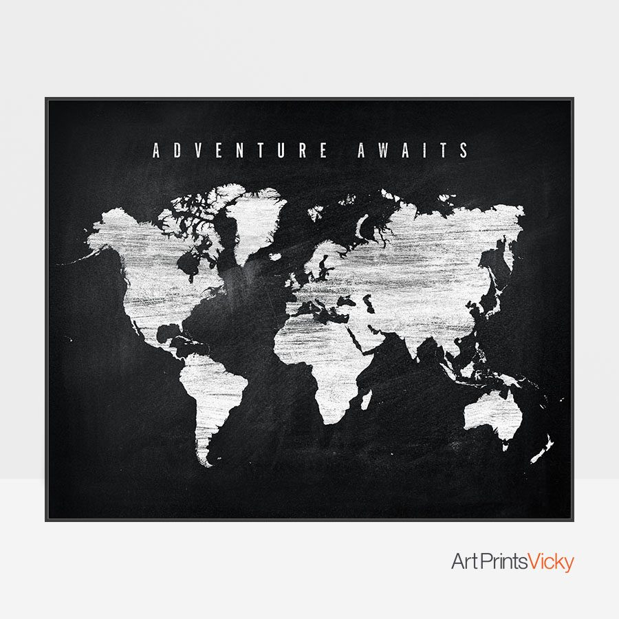 World map chalkboard adventure awaits artprintsvicky world map chalkboard adventure awaits gumiabroncs Images