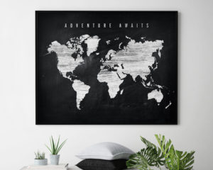 World map chalkboard adventure awaits second