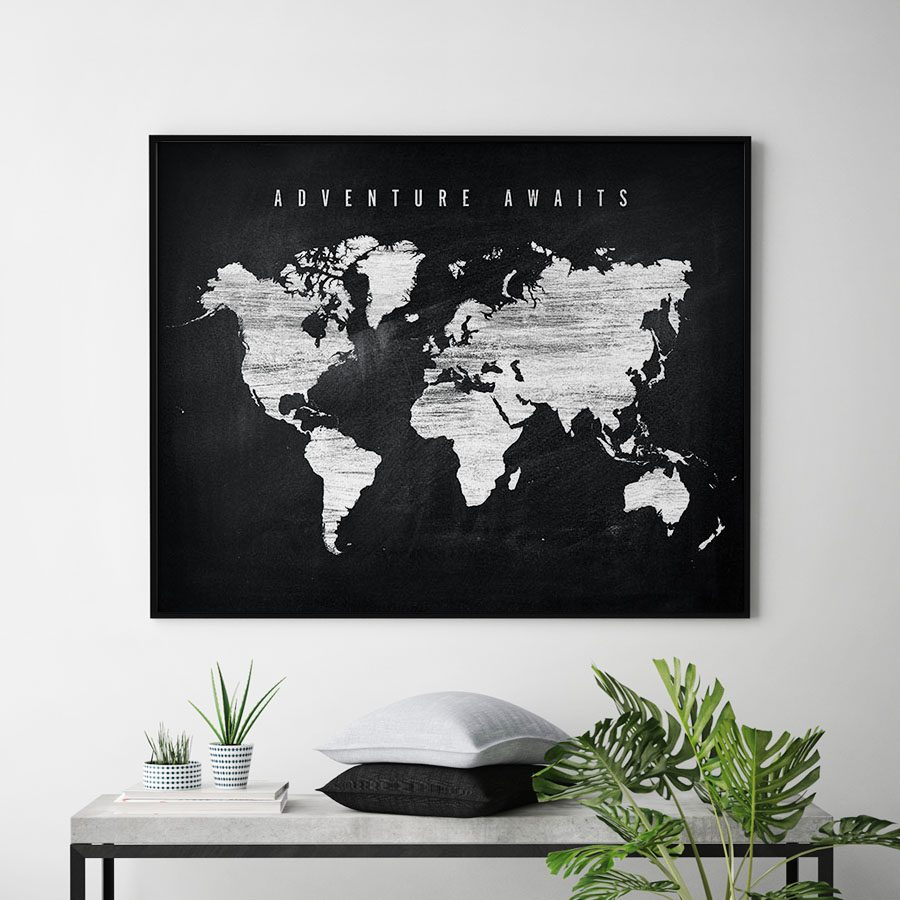 World map chalkboard adventure awaits artprintsvicky world map chalkboard adventure awaits second gumiabroncs Images