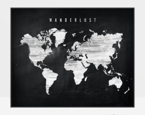 World map chalkboard wanderlust