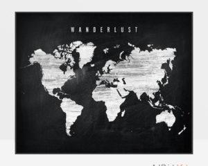 World map chalkboard wanderlust
