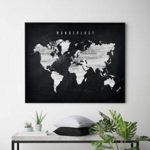 World map chalkboard wanderlust second