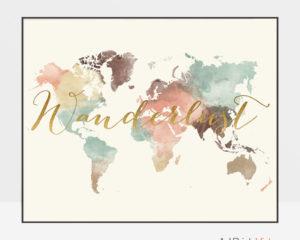 Wanderlust world map watercolor pastel cream
