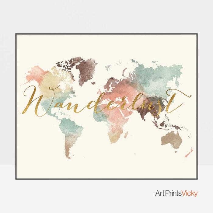 Wanderlust World Map Watercolor Pastel