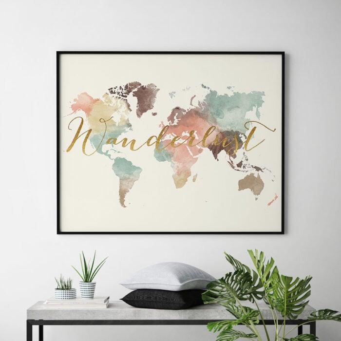 Wanderlust world map watercolor pastel cream second