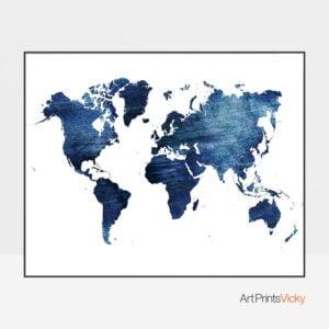 World Map Blue Distressed Print