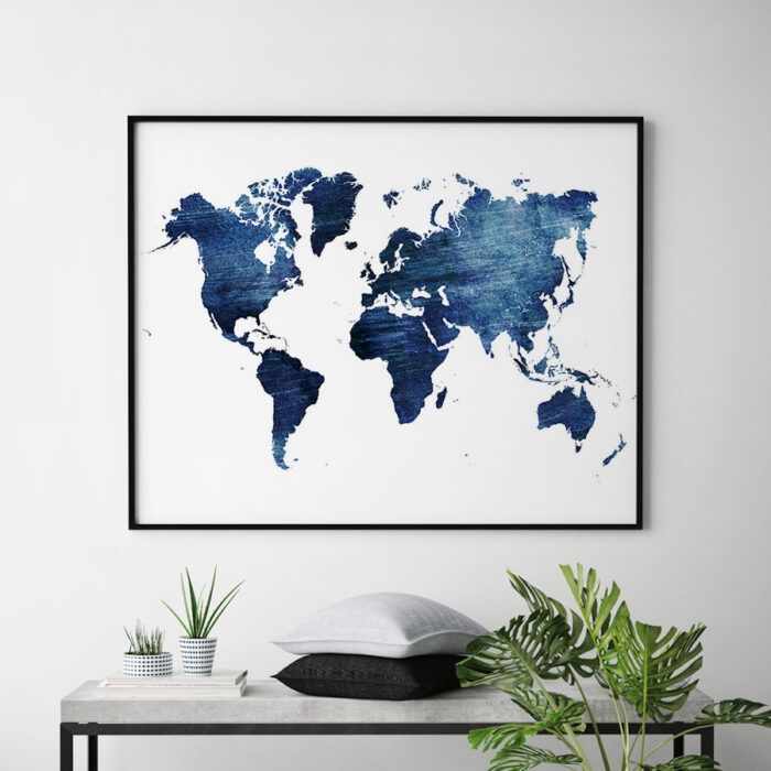 World map print blue distressed second