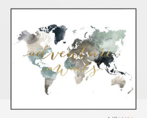 Adventure awaits world map poster earth tones 4