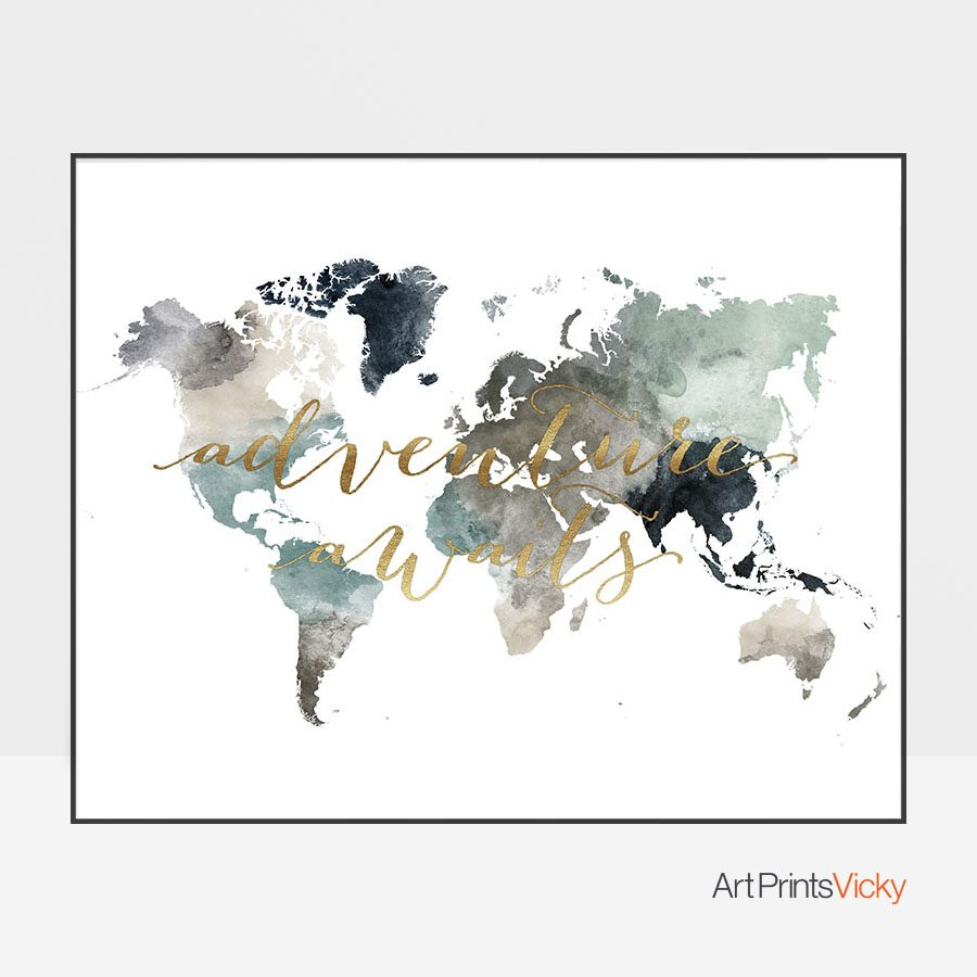 Adventure awaits world map poster earth tones 4 artprintsvicky adventure awaits world map poster earth tones 4 gumiabroncs Gallery