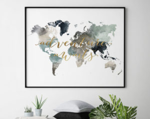 Adventure awaits world map poster earth tones 4 second