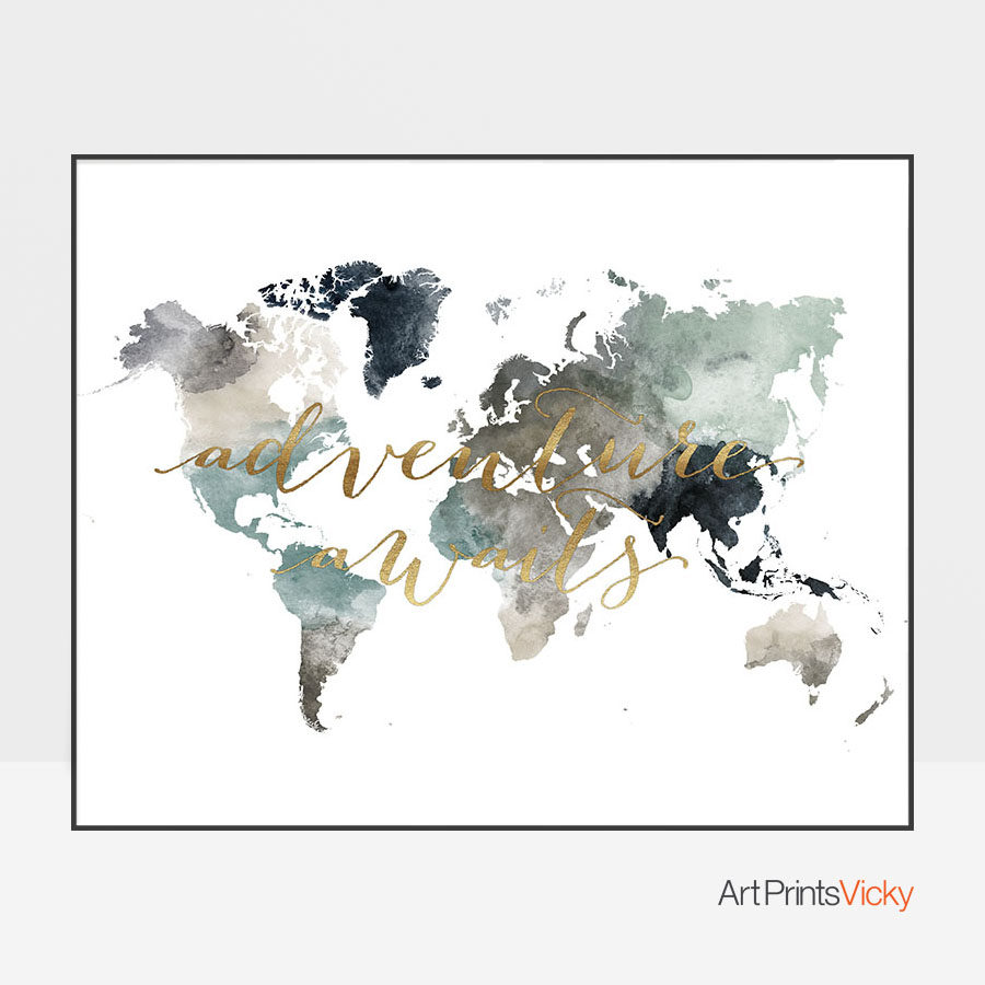 Adventure awaits world map poster earth tones 4 artprintsvicky gumiabroncs Choice Image