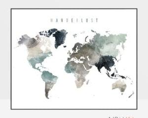 World map art watercolor wanderlust earth tones 4