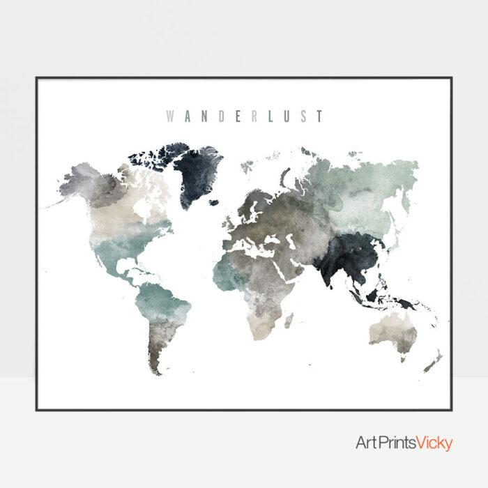 World Map Wanderlust Earth Tones 4