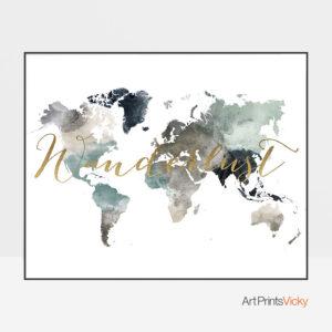 World map earth tones 4 wanderlust gold