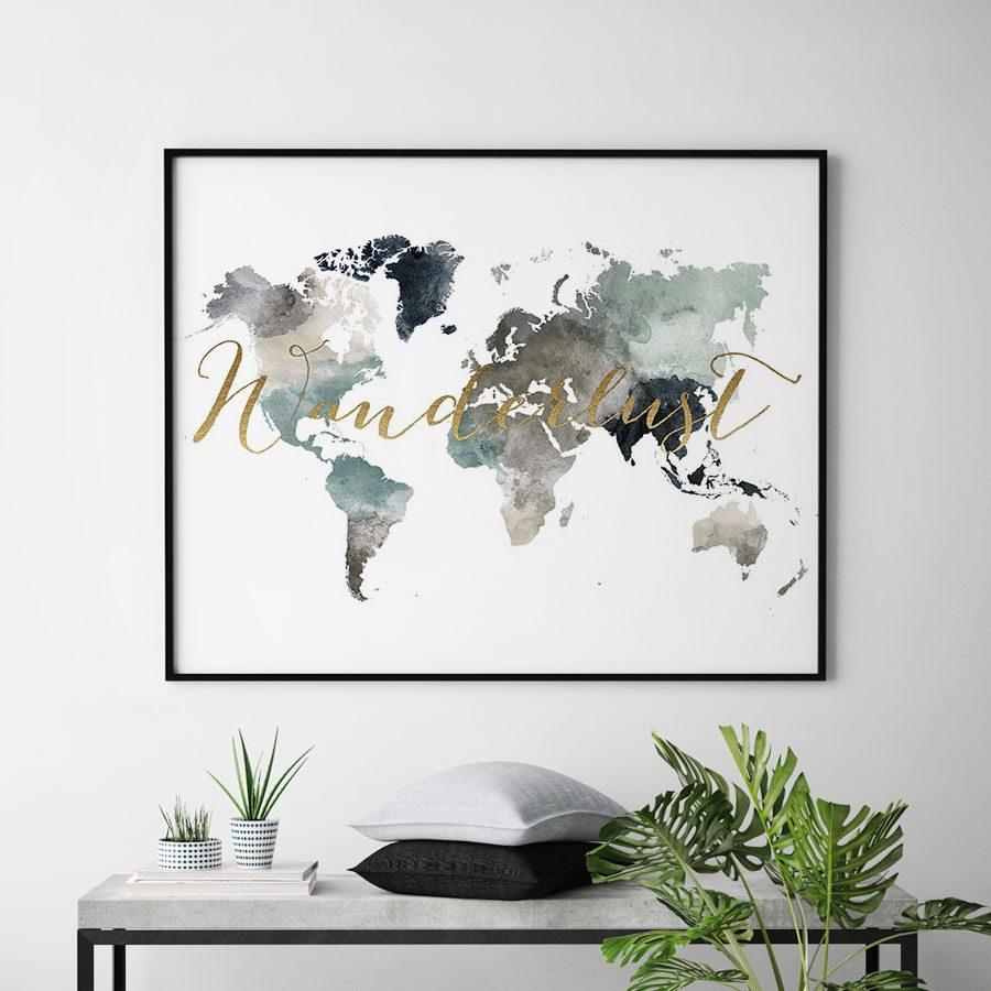 World map earth tones 4 wanderlust gold second