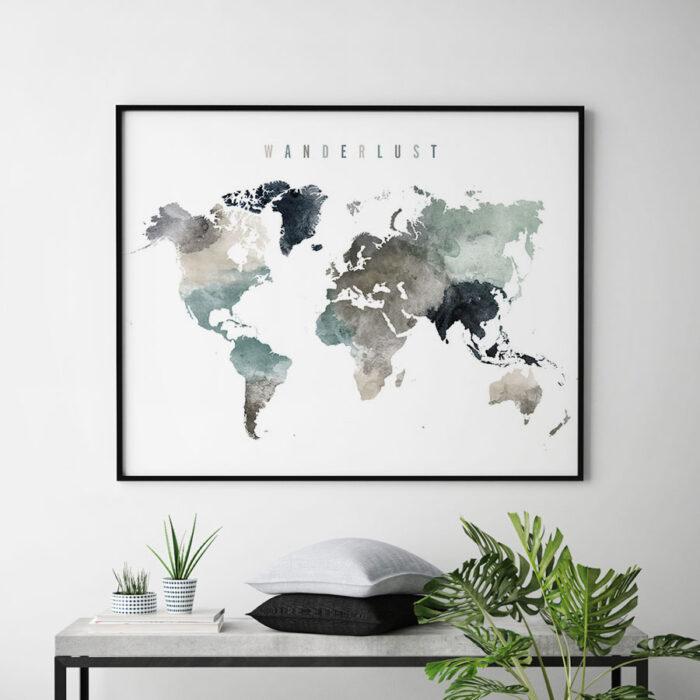 World map art watercolor wanderlust earth tones 4 second
