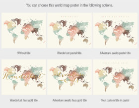 World map poster title options cream pastel