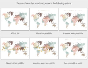 world map poster title options white pastel