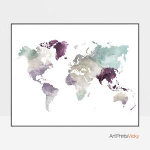 World Map Pastel 2 Print