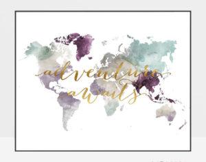 World map poster adventure awaits pastel 2