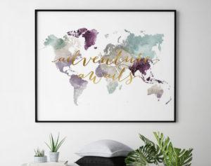 World map poster adventure awaits pastel 2 second