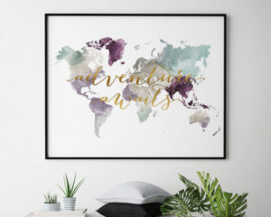 World map poster adventure awaits pastel 2 second