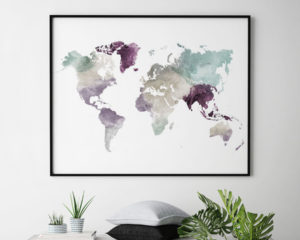 World map art print pastel 2 second