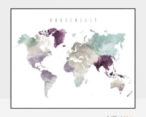 World map print wanderlust pastel 2