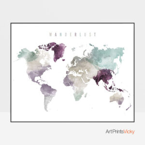 World map print wanderlust pastel 2