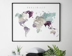 World map print wanderlust pastel 2 second