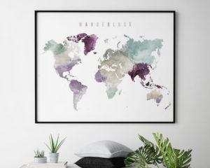 World map print wanderlust pastel 2 second