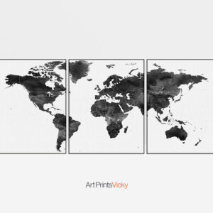 World map black and white 3 piece wall art