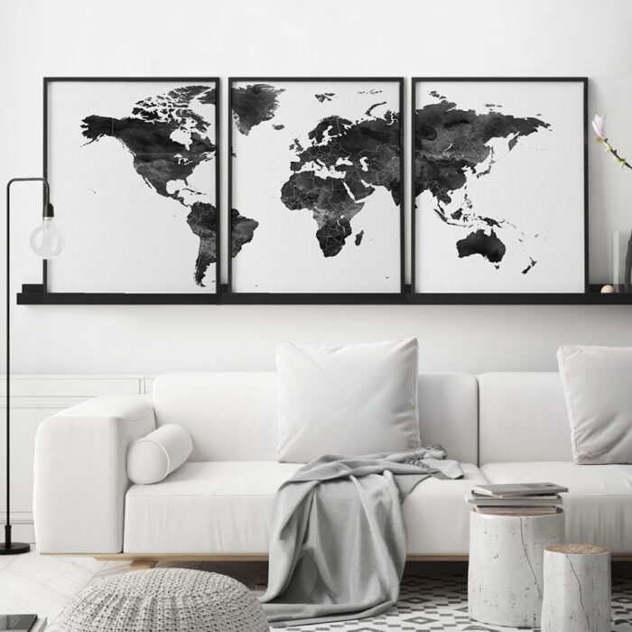 World map black and white 3 piece wall art second