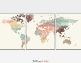 World map pastel 3 piece wall art