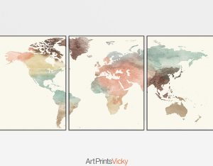 World map pastel 3 piece wall art