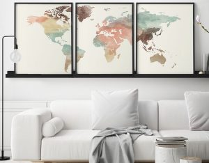 World map pastel 3 piece wall art second