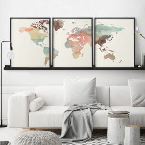 World map pastel 3 piece wall art second