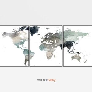 World map set of 3 prints earth tones 4