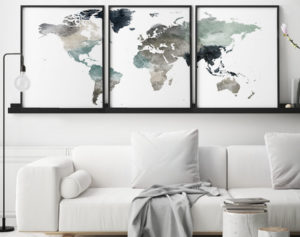 World map set of 3 prints earth tones 4 second