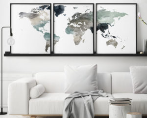 World map set of 3 prints earth tones 4 second