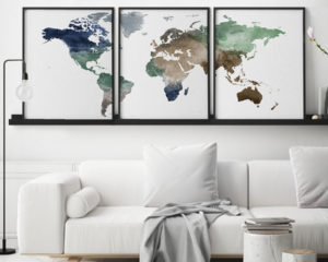 World map poster set of 3 prints second