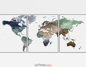 World map poster set of 3 prints