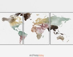 World map watercolor 3 piece wall art