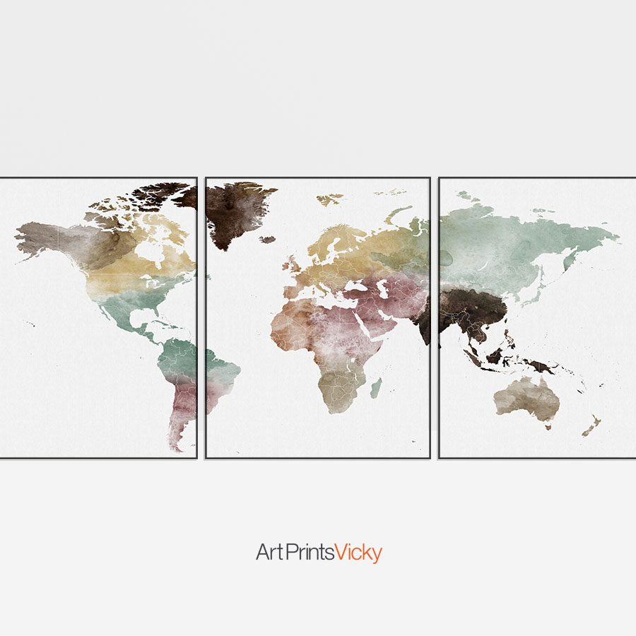 World map watercolor 3 piece wall art