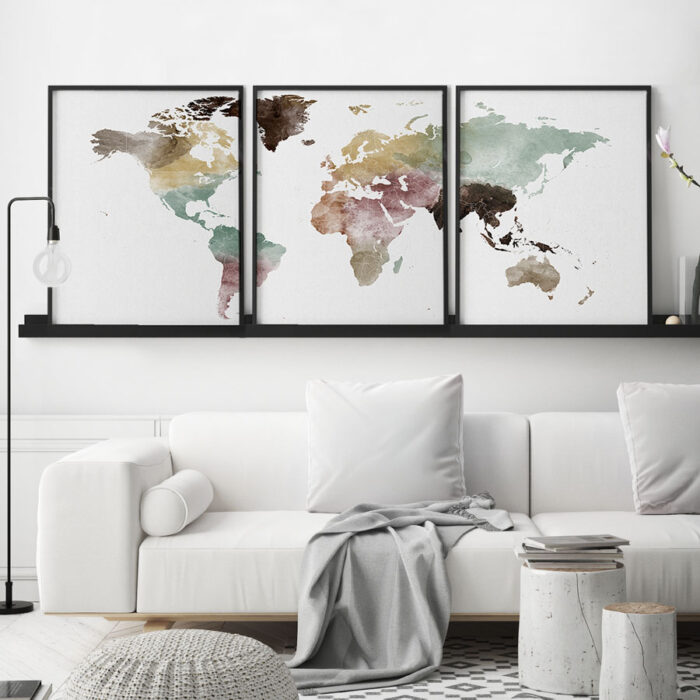 World map watercolor 3 piece wall art second