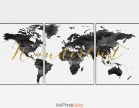 World map wanderlust black white set of 3 prints