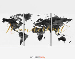 World map wanderlust black white set of 3 prints