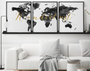 World map wanderlust black white set of 3 prints second