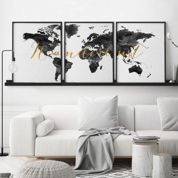 World map wanderlust black white set of 3 prints second